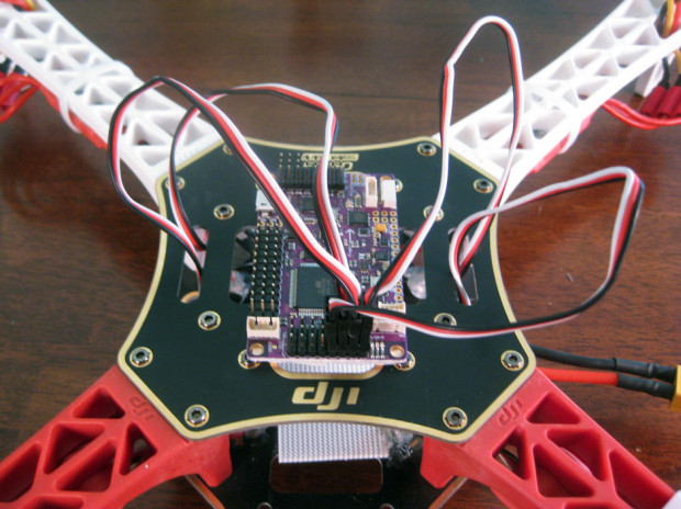 ArduFlyer with ESCs connected
